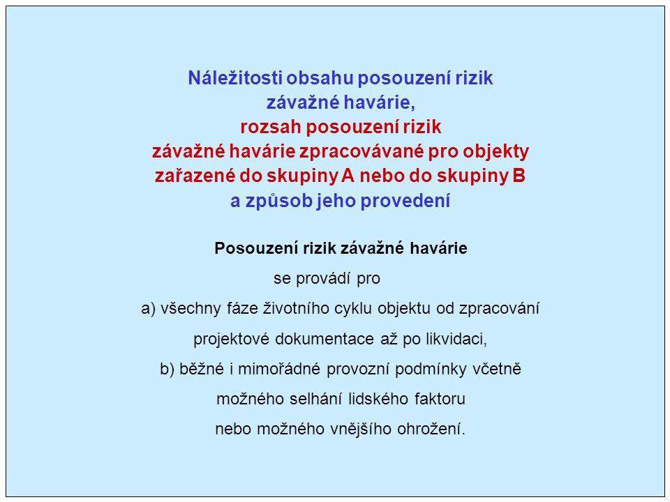 Náležitosti obsahu posouzení rizik závažné havárie, rozsah posouzení rizik závažné havárie zpracovávané pro objekty zařazené do skupiny A nebo do skupiny B a způsob jeho provedení Posouzení rizik závažné havárie se provádí pro a) všechny fáze životního cyklu objektu od zpracování projektové dokumentace až po likvidaci, b) běžné i mimořádné provozní podmínky včetně možného selhání lidského faktoru nebo možného vnějšího ohrožení.