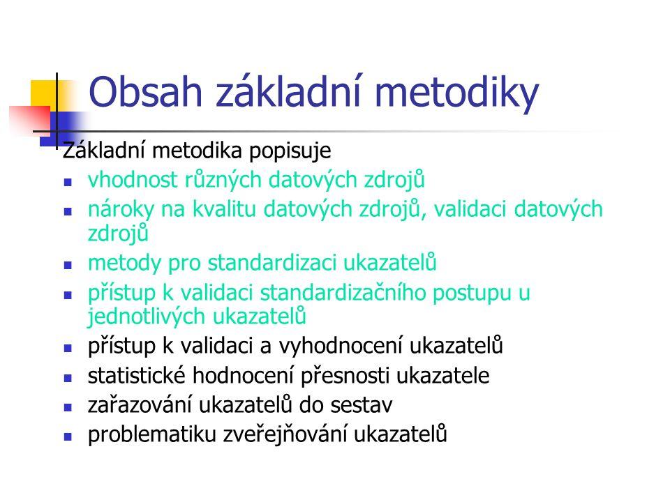 Obsah základní metodiky Základní metodika popisuje vhodnost různých datových zdrojů nároky na kvalitu datových zdrojů, validaci datových zdrojů metody pro standardizaci ukazatelů přístup k validaci standardizačního postupu u jednotlivých ukazatelů přístup k validaci a vyhodnocení ukazatelů statistické hodnocení přesnosti ukazatele zařazování ukazatelů do sestav problematiku zveřejňování ukazatelů