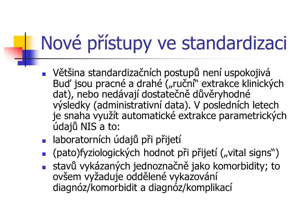 """Nové přístupy ve standardizaci Většina standardizačních postupů není uspokojivá Buď jsou pracné a drahé (""""ruční extrakce klinických dat), nebo nedávají dostatečně důvěryhodné výsledky (administrativní data)."""