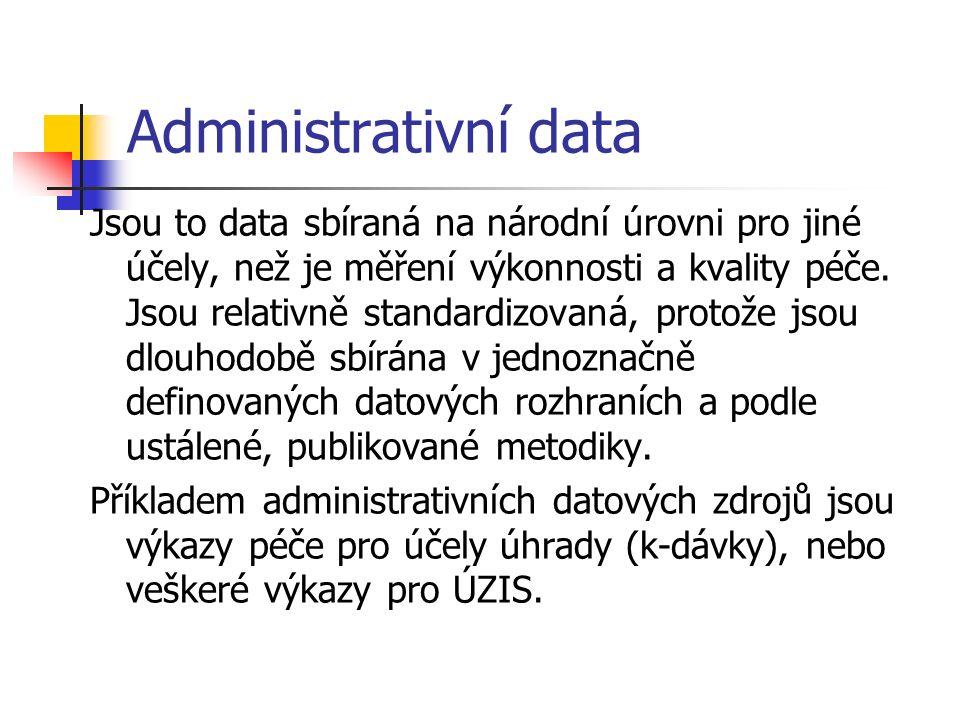 Administrativní data Jsou to data sbíraná na národní úrovni pro jiné účely, než je měření výkonnosti a kvality péče.