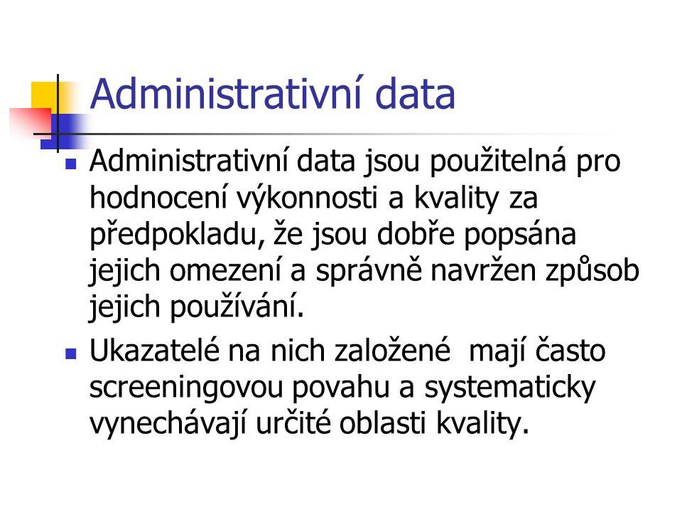 Administrativní data Administrativní data jsou použitelná pro hodnocení výkonnosti a kvality za předpokladu, že jsou dobře popsána jejich omezení a správně navržen způsob jejich používání.