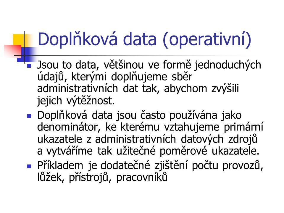 Doplňková data (operativní) Jsou to data, většinou ve formě jednoduchých údajů, kterými doplňujeme sběr administrativních dat tak, abychom zvýšili jejich výtěžnost.
