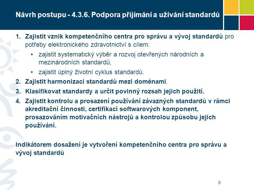 Návrh postupu - 4.3.6. Podpora přijímání a užívání standardů 1. Zajistit vznik kompetenčního centra pro správu a vývoj standardů pro potřeby elektroni