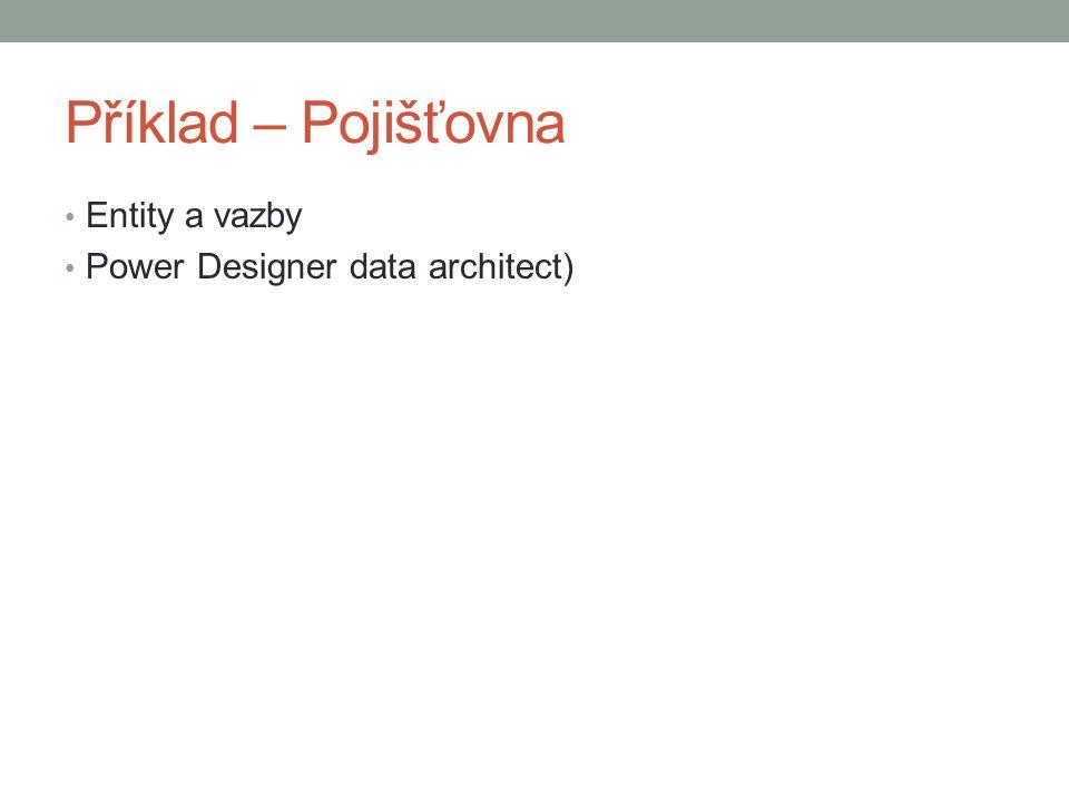Příklad – Pojišťovna Entity a vazby Power Designer data architect)
