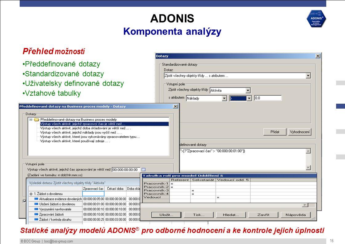 © BOC Group | boc@boc-group.com 16 ADONIS Komponenta analýzy Přehled možností Předdefinované dotazy Standardizované dotazy Uživatelsky definované dotazy Vztahové tabulky Statické analýzy modelů ADONIS ® pro odborné hodnocení a ke kontrole jejich úplnosti