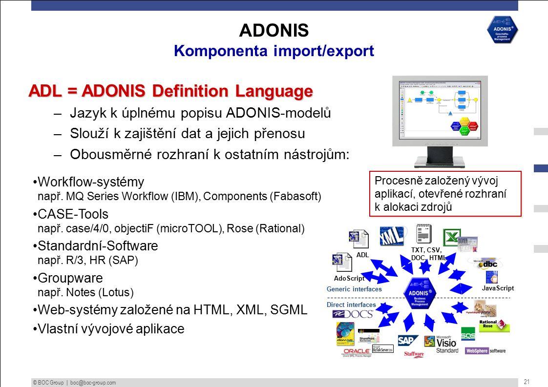 © BOC Group | boc@boc-group.com 21 ADL = ADONIS Definition Language –Jazyk k úplnému popisu ADONIS-modelů –Slouží k zajištění dat a jejich přenosu –Obousměrné rozhraní k ostatním nástrojům: Workflow-systémy např.