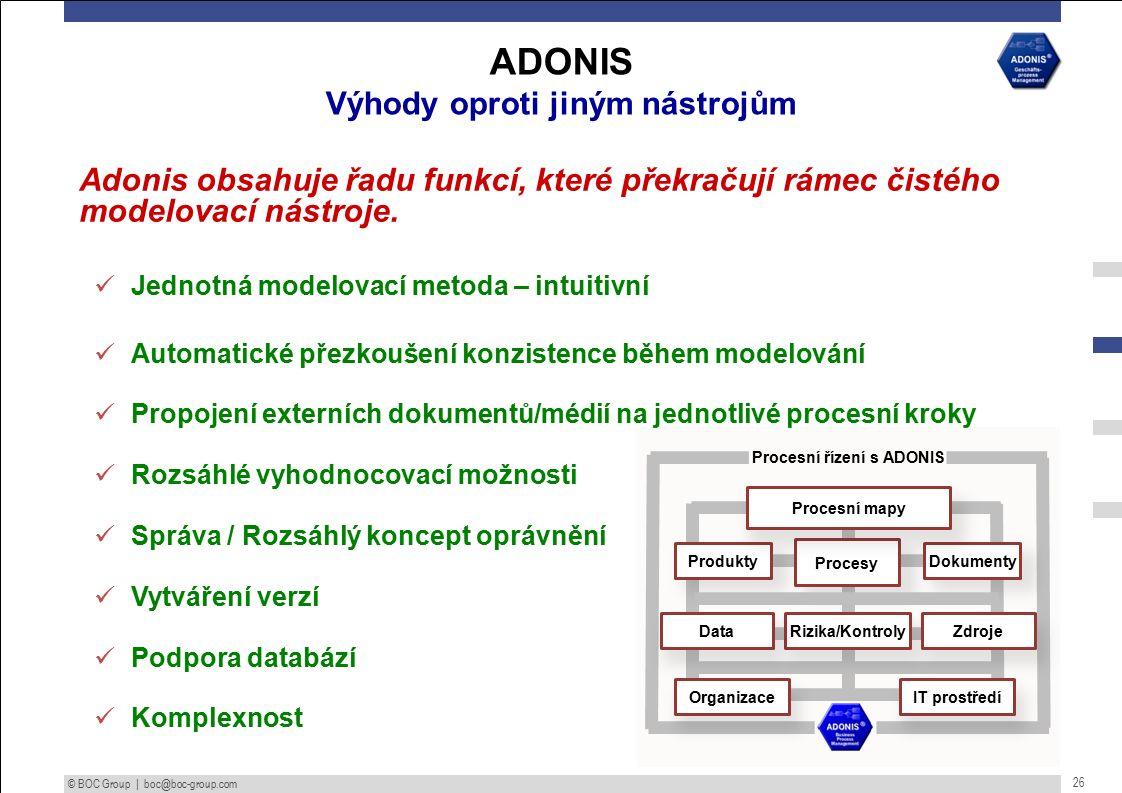 © BOC Group | boc@boc-group.com 26 Adonis obsahuje řadu funkcí, které překračují rámec čistého modelovací nástroje.