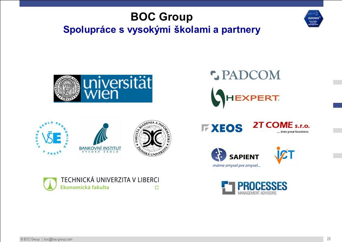 © BOC Group | boc@boc-group.com 28 BOC Group Spolupráce s vysokými školami a partnery