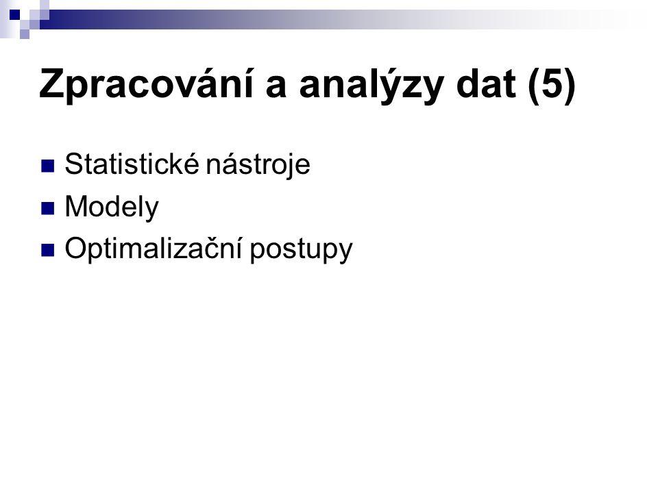 Zpracování a analýzy dat (5) Statistické nástroje Modely Optimalizační postupy