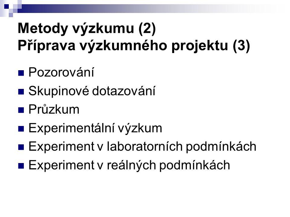 Metody výzkumu (2) Příprava výzkumného projektu (3) Pozorování Skupinové dotazování Průzkum Experimentální výzkum Experiment v laboratorních podmínkách Experiment v reálných podmínkách