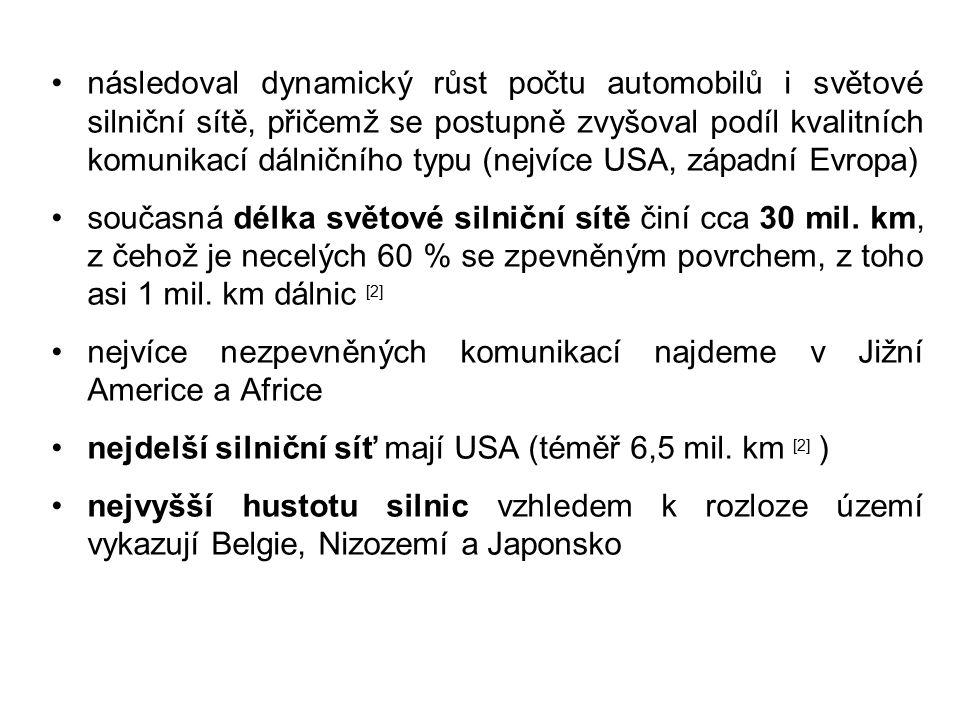 následoval dynamický růst počtu automobilů i světové silniční sítě, přičemž se postupně zvyšoval podíl kvalitních komunikací dálničního typu (nejvíce USA, západní Evropa) současná délka světové silniční sítě činí cca 30 mil.