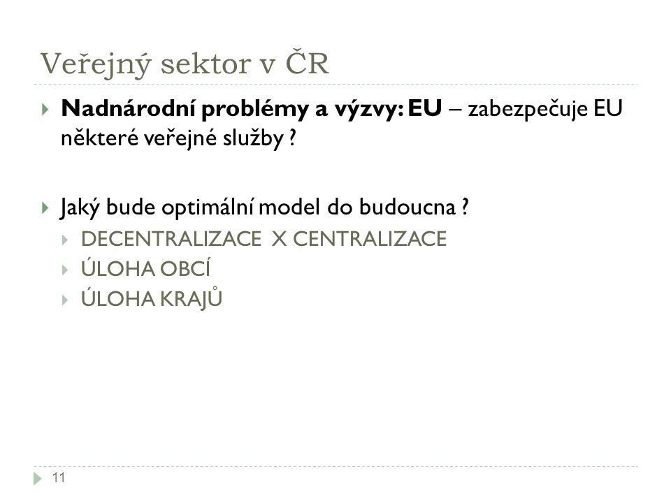Veřejný sektor v ČR  Nadnárodní problémy a výzvy: EU – zabezpečuje EU některé veřejné služby ?  Jaký bude optimální model do budoucna ?  DECENTRALI