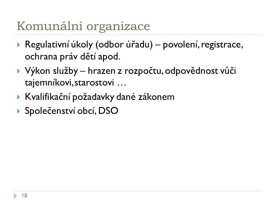 Komunální organizace 18  Regulativní úkoly (odbor úřadu) – povolení, registrace, ochrana práv dětí apod.  Výkon služby – hrazen z rozpočtu, odpovědn