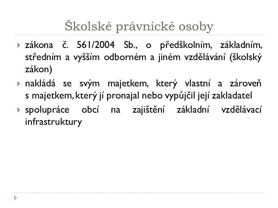 Školské právnické osoby  zákona č.