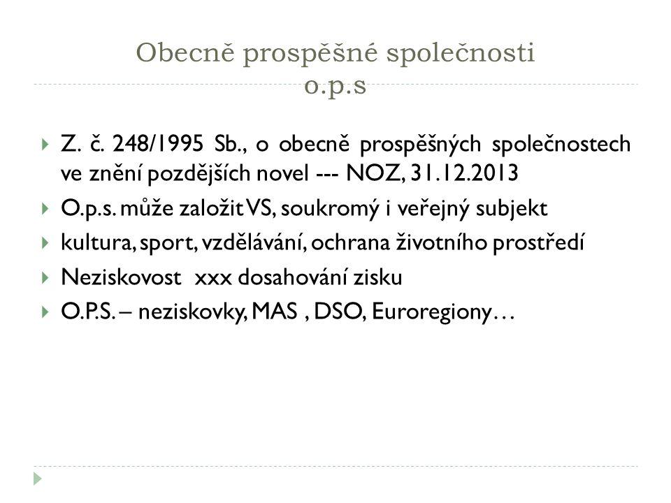 Obecně prospěšné společnosti o.p.s  Z. č. 248/1995 Sb., o obecně prospěšných společnostech ve znění pozdějších novel --- NOZ, 31.12.2013  O.p.s. můž