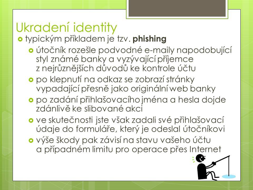 Ukradení identity  typickým příkladem je tzv.