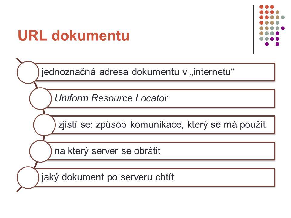 """URL dokumentu jednoznačná adresa dokumentu v """"internetu Uniform Resource Locator zjistí se: způsob komunikace, který se má použít na který server se obrátit jaký dokument po serveru chtít"""