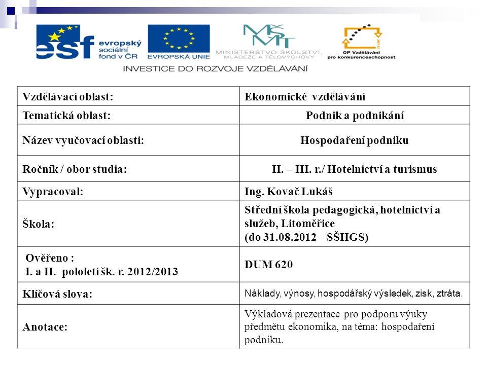 Vzdělávací oblast:Ekonomické vzdělávání Tematická oblast:Podnik a podnikání Název vyučovací oblasti:Hospodaření podniku Ročník / obor studia:II.