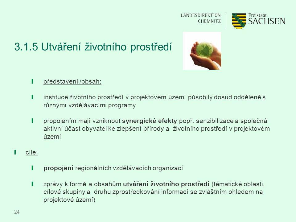 24 3.1.5 Utváření životního prostředí ❙ představení /obsah: ❙ instituce životního prostředí v projektovém území působily dosud odděleně s různými vzdě