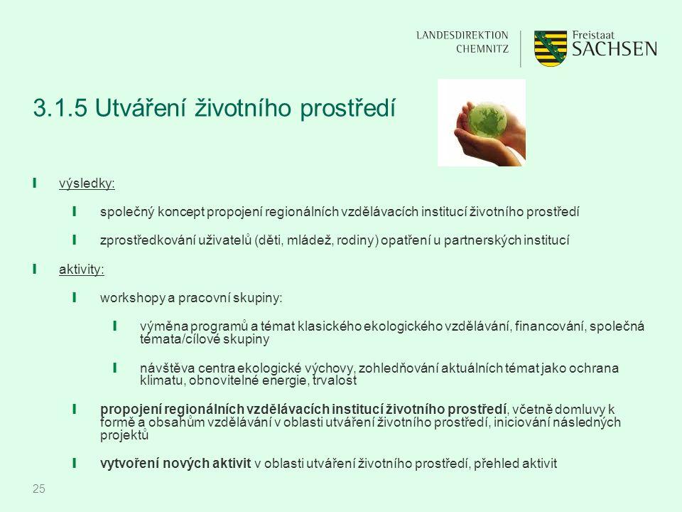 25 3.1.5 Utváření životního prostředí ❙ výsledky: ❙ společný koncept propojení regionálních vzdělávacích institucí životního prostředí ❙ zprostředková