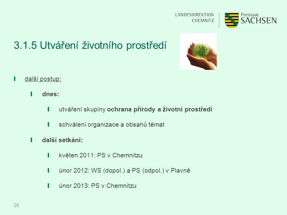 26 3.1.5 Utváření životního prostředí ❙ další postup: ❙ dnes: ❙ utváření skupiny ochrana přírody a životní prostředí ❙ schválení organizace a obsahů t