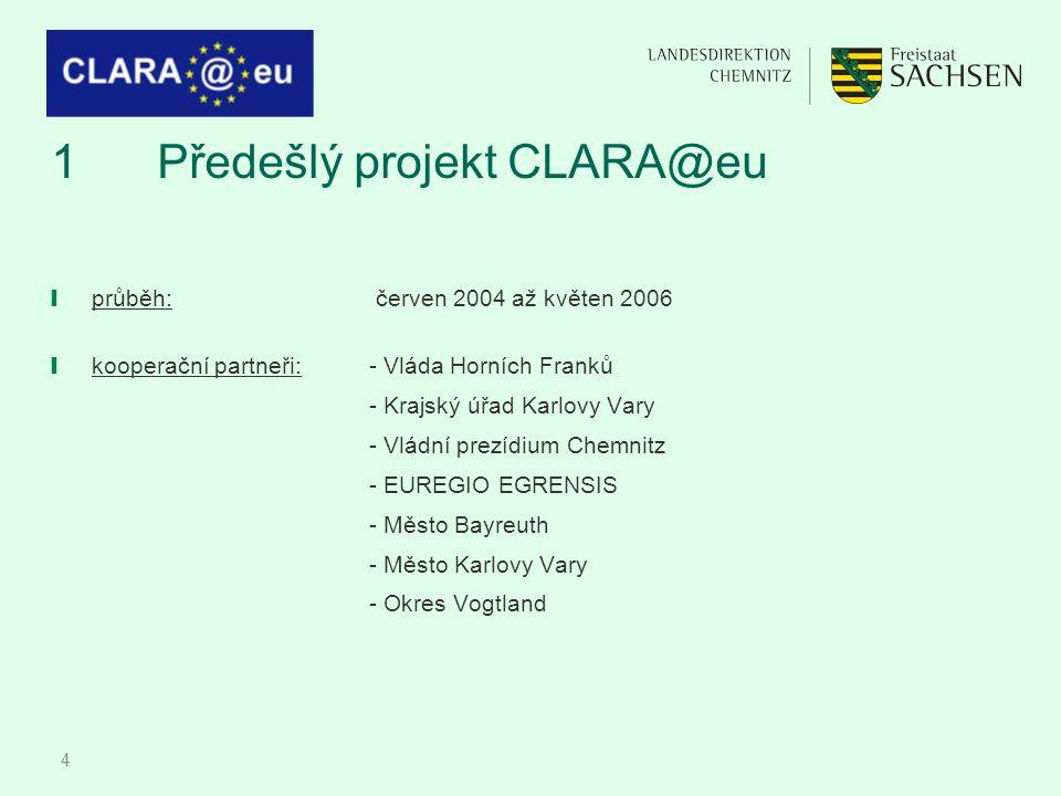 4 1Předešlý projekt CLARA@eu ❙ průběh: červen 2004 až květen 2006 ❙ kooperační partneři: - Vláda Horních Franků - Krajský úřad Karlovy Vary - Vládní p