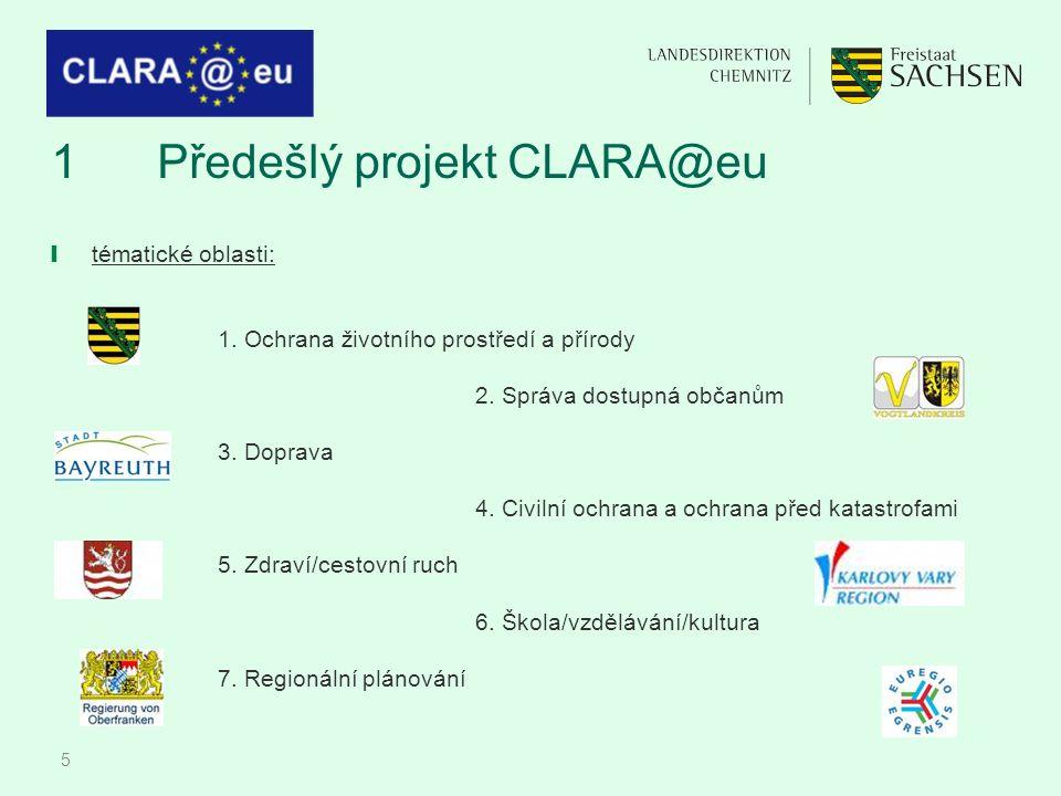 5 1Předešlý projekt CLARA@eu ❙ tématické oblasti: 1. Ochrana životního prostředí a přírody 2. Správa dostupná občanům 3. Doprava 4. Civilní ochrana a