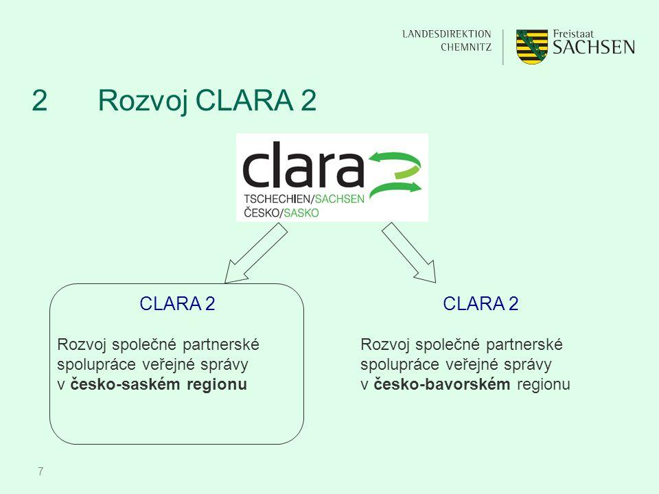 7 2 Rozvoj CLARA 2 CLARA 2 Rozvoj společné partnerské spolupráce veřejné správy v česko-saském regionu CLARA 2 Rozvoj společné partnerské spolupráce v