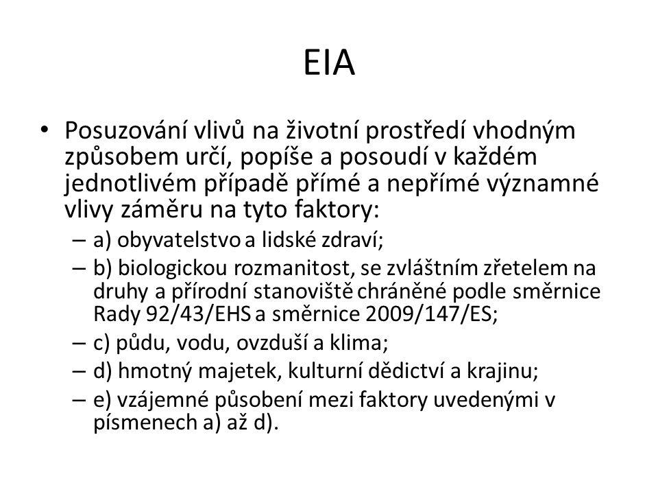 EIA Posuzování vlivů na životní prostředí vhodným způsobem určí, popíše a posoudí v každém jednotlivém případě přímé a nepřímé významné vlivy záměru na tyto faktory: – a) obyvatelstvo a lidské zdraví; – b) biologickou rozmanitost, se zvláštním zřetelem na druhy a přírodní stanoviště chráněné podle směrnice Rady 92/43/EHS a směrnice 2009/147/ES; – c) půdu, vodu, ovzduší a klima; – d) hmotný majetek, kulturní dědictví a krajinu; – e) vzájemné působení mezi faktory uvedenými v písmenech a) až d).