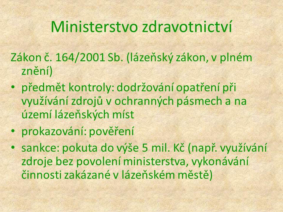 Ministerstvo zdravotnictví Zákon č. 164/2001 Sb. (lázeňský zákon, v plném znění) předmět kontroly: dodržování opatření při využívání zdrojů v ochranný