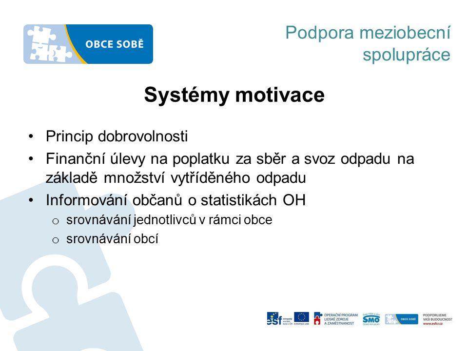 Podpora meziobecní spolupráce Systémy motivace Princip dobrovolnosti Finanční úlevy na poplatku za sběr a svoz odpadu na základě množství vytříděného