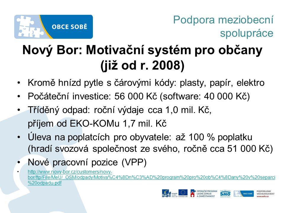 Podpora meziobecní spolupráce Nový Bor: Motivační systém pro občany (již od r. 2008) Kromě hnízd pytle s čárovými kódy: plasty, papír, elektro Počáteč
