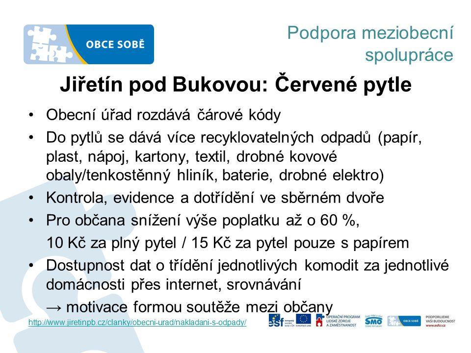Podpora meziobecní spolupráce Jiřetín pod Bukovou: Červené pytle Obecní úřad rozdává čárové kódy Do pytlů se dává více recyklovatelných odpadů (papír,