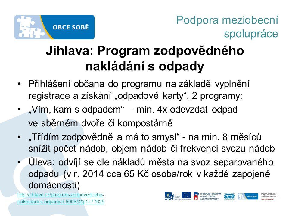 Podpora meziobecní spolupráce Jihlava: Program zodpovědného nakládání s odpady Přihlášení občana do programu na základě vyplnění registrace a získání