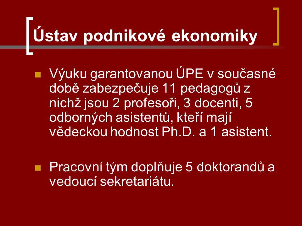 Ústav podnikové ekonomiky Výuku garantovanou ÚPE v současné době zabezpečuje 11 pedagogů z nichž jsou 2 profesoři, 3 docenti, 5 odborných asistentů, kteří mají vědeckou hodnost Ph.D.