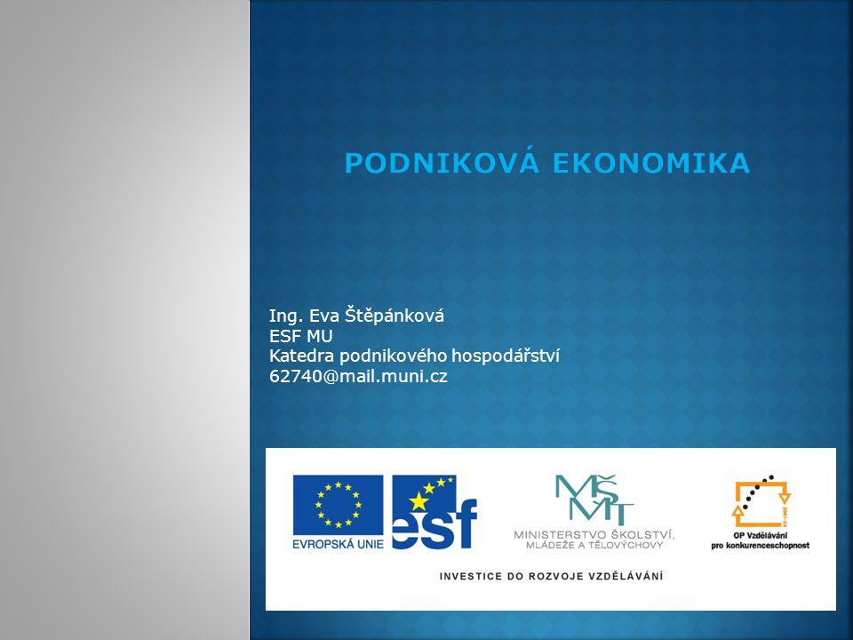 Ing. Eva Štěpánková ESF MU Katedra podnikového hospodářství 62740@mail.muni.cz