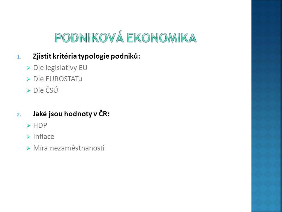 1. Zjistit kritéria typologie podniků:  Dle legislativy EU  Dle EUROSTATu  Dle ČSÚ 2. Jaké jsou hodnoty v ČR:  HDP  Inflace  Míra nezaměstnanost