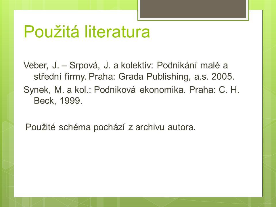 Použitá literatura Veber, J. – Srpová, J. a kolektiv: Podnikání malé a střední firmy.