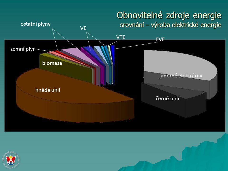 Obnovitelné zdroje energie srovnání – výroba elektrické energie hnědé uhlí černé uhlí jaderné elektrárny biomasa zemní plyn VE VTE FVE ostatní plyny