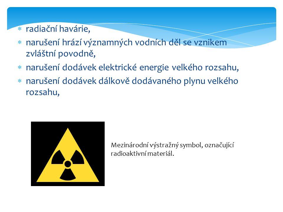  radiační havárie,  narušení hrází významných vodních děl se vznikem zvláštní povodně,  narušení dodávek elektrické energie velkého rozsahu,  narušení dodávek dálkově dodávaného plynu velkého rozsahu, Mezinárodní výstražný symbol, označující radioaktivní materiál.