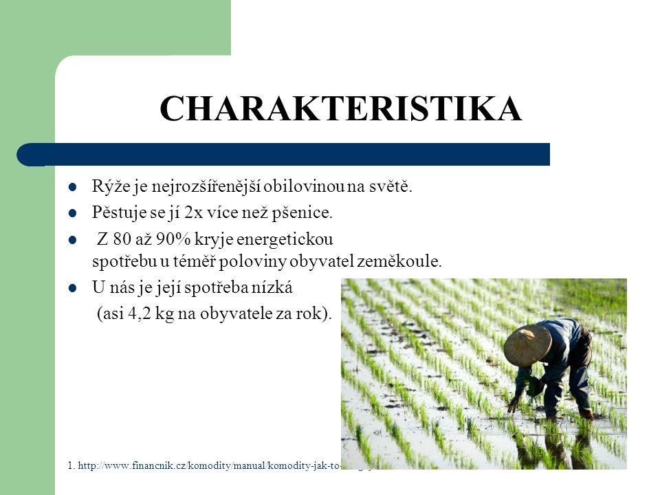 CHARAKTERISTIKA Rýže je nejrozšířenější obilovinou na světě.