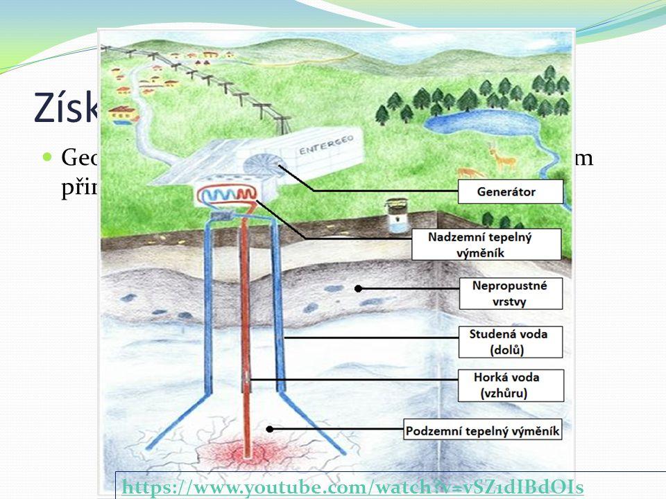 Získávání Geotermální energie je ze země získávána čerpáním přirozeného tepla z hlubinných vrtů.
