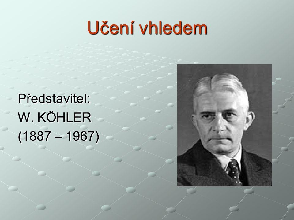 Učení vhledem Představitel: W. KÖHLER (1887 – 1967)