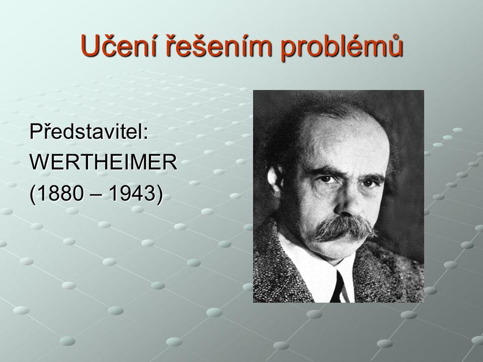Učení řešením problémů Představitel:WERTHEIMER (1880 – 1943)