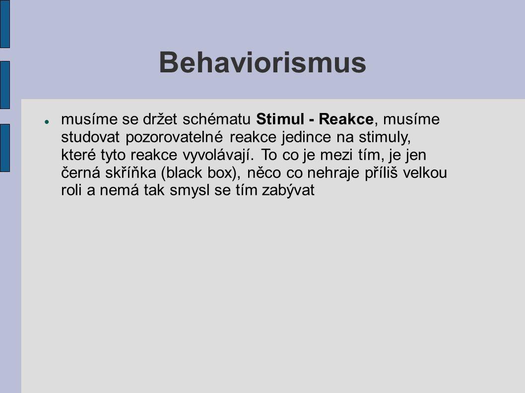 Behaviorismus musíme se držet schématu Stimul - Reakce, musíme studovat pozorovatelné reakce jedince na stimuly, které tyto reakce vyvolávají. To co j