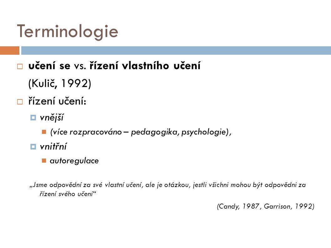 Terminologie  učení se vs.