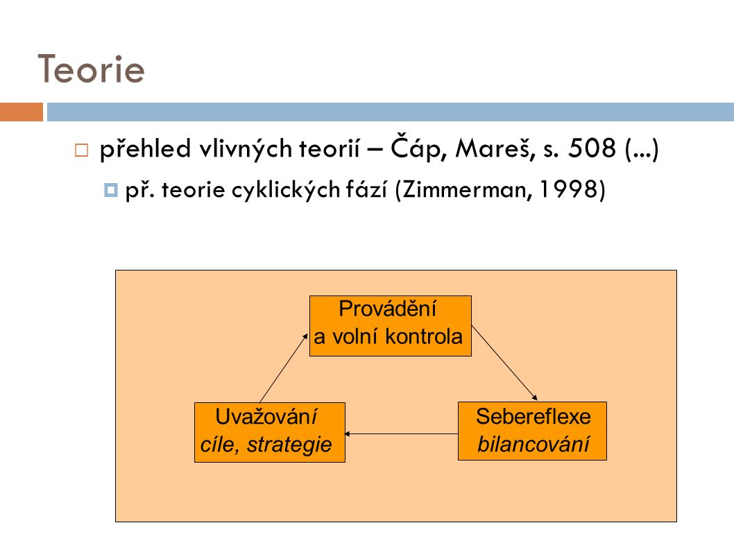 Teorie  přehled vlivných teorií – Čáp, Mareš, s. 508 (...)  př.