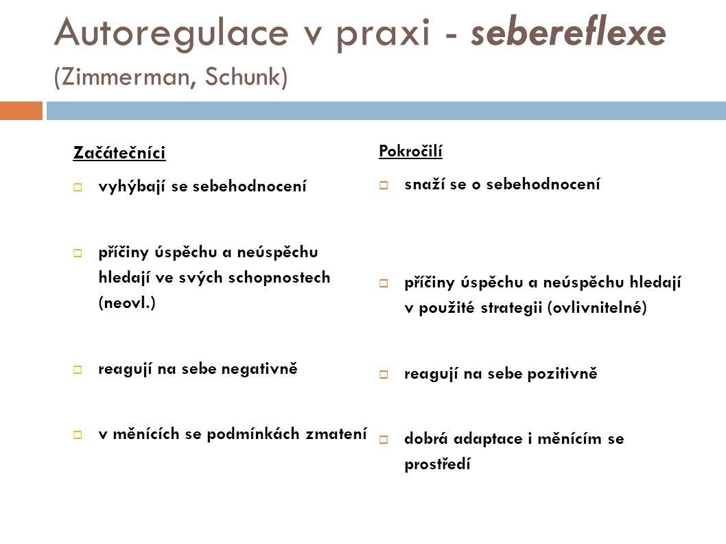 Autoregulace v praxi - sebereflexe (Zimmerman, Schunk) Začátečníci  vyhýbají se sebehodnocení  příčiny úspěchu a neúspěchu hledají ve svých schopnostech (neovl.)  reagují na sebe negativně  v měnících se podmínkách zmatení Pokročilí  snaží se o sebehodnocení  příčiny úspěchu a neúspěchu hledají v použité strategii (ovlivnitelné)  reagují na sebe pozitivně  dobrá adaptace i měnícím se prostředí