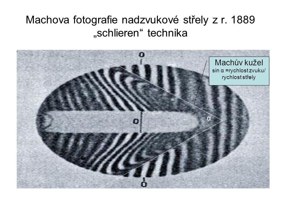 """Machova fotografie nadzvukové střely z r. 1889 """"schlieren"""" technika α Machův kužel sin α =rychlost zvuku/ rychlost střely"""