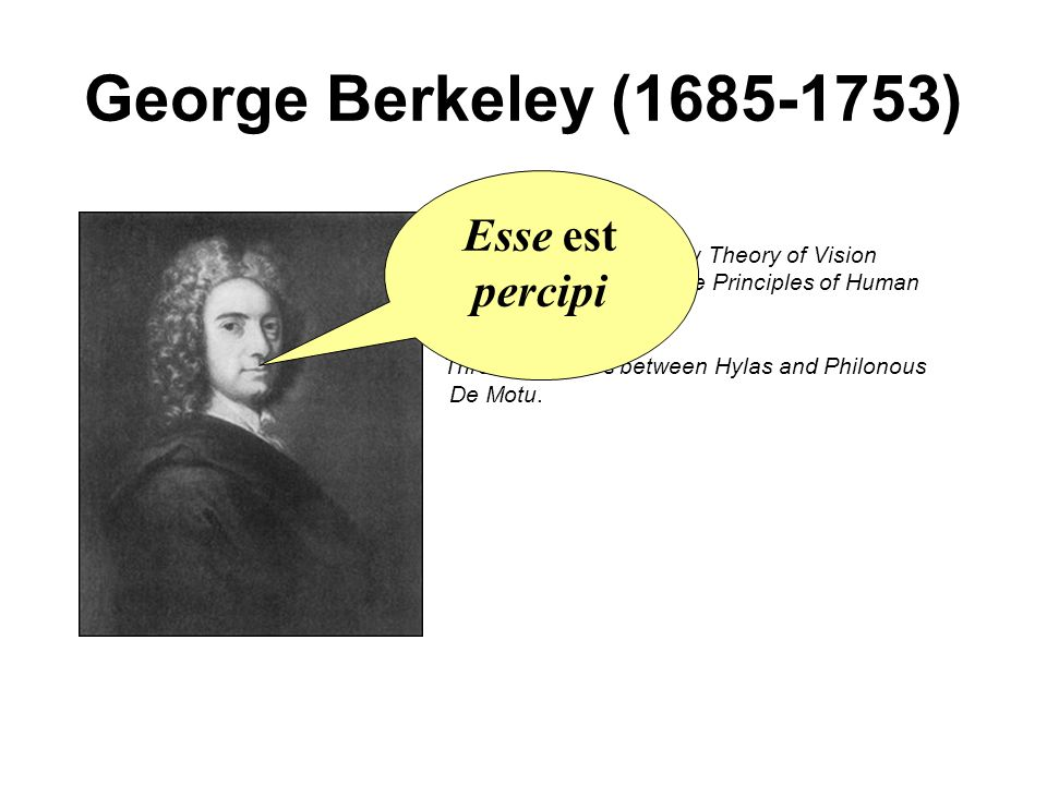George Berkeley (1685-1753) An Essay towards a New Theory of Vision A Treatise concerning the Principles of Human Knowledge, Passive Obedience Three Dialogues between Hylas and Philonous De Motu.